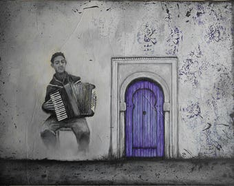 Original painting - musician - painting accordionist - decor-musician - Deco accordion - accordionist purple door