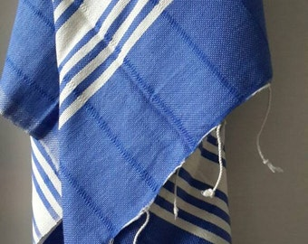 100 % cotton towel - Fringed Blue pareo - Handwoven Fouta - Blue and white striped towel  - Yachting towel throw - Gift for him