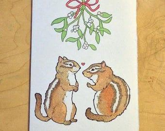 Chipmunk Mistletoe Notecard
