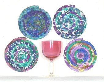 Four Coiled Coasters, Mug Rugs, Absorbent Coasters, Washable Coasters, Candle Mats, Round Coasters, Fabric Coasters, Snack Mats