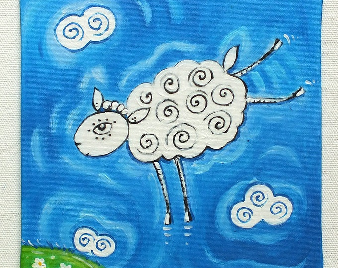 A playful sheep - original acrylic painting on canvas for children