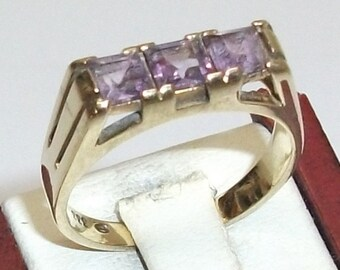 Ring gold Amethyst 333 vintage old rare beautiful GR117
