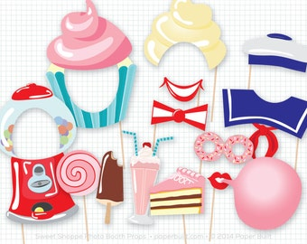 Sweet Shoppe Party, Photo Booth Props, Photobooth Props, Cupcakes, Birthday, Donuts, Gumball Machine, Ice Cream, Cake, Candy, Printable PDF