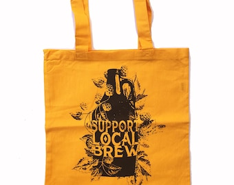 Support Local BREW - Eco-Friendly Market Tote Bag - Hand Screen printed (Ships FREE!)