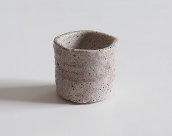 Ceramic tea cup, handmade pottery, with rustic grey glaze for coffee, espresso, tea, wine