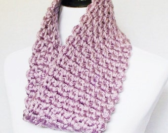Pink Crochet Cowl, Purple Chunky Knit Cowl, Dusty Rose Neck Warmer, Short Infinity Scarf - Soft Purple/Pink
