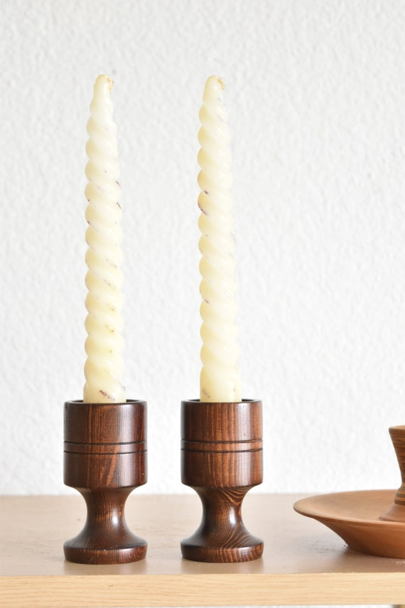 pair of turned mid century wood brass candlestick holders / short candleholders