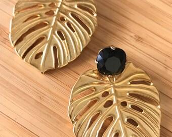 Les boucles d'oreilles Eva noir. Swarovski Crystal et Adam nervure feuille / Philodendron. Goujon de végétal, chic, nature