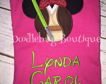 Minnie Mouse Star Wars Jedi shirt with name