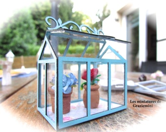 Miniature Greenhouse giverny model -scale 1:12- Dollhouse miniatures-