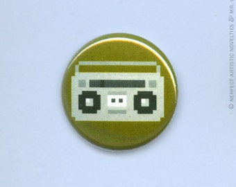 "8-Bit Boombox 1"" Pin-Back Button"