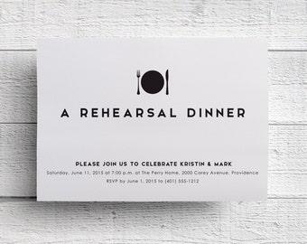 Rehearsal Dinner Invitation, Wedding Rehearsal, Printed Invitation, Modern Dinner Invitation, Fork Invitation, Rehearsal Invite