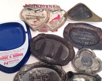 Seven Metal cigarette ash trays, ashtrays, plus 1 ceramic, Mixed Lot of 8 Pieces, Canada, New York, Indiana, Japan, Israel, retro