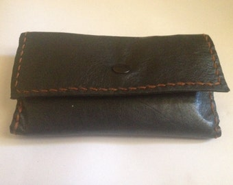 Black Leather tobacco pouch