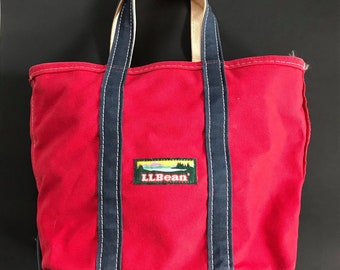 Vintage LL.Ban Tote Bag Canvas Red & Navy Blue Mint,RARE