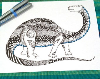 Dinosaur Coloring Page Zentangle Kids Adult Doodle Design Printable Instant Download Animal Activity