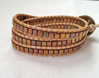Leather Wrap Bracelet 3x with Metallic Cube Beads
