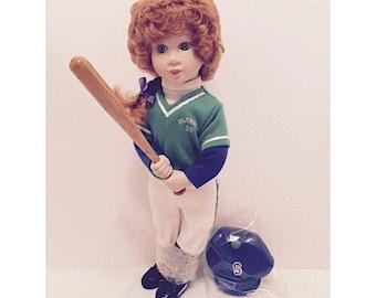 """SALE - 1995 Avon Tender Memories Porcelain Doll """"Batter Up"""""""