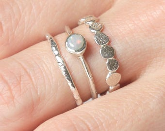 Silver Opal Pebble Ring Set  | Australian Opal Ring Set |  Nature Inspired Rings