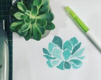 Succulent Trio Needlepoint Kit
