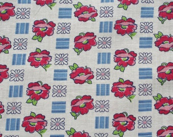 Vintage Feedsack Floral Feed Sack Flour Sack Fabric Pink Blue 37 x 46 inches