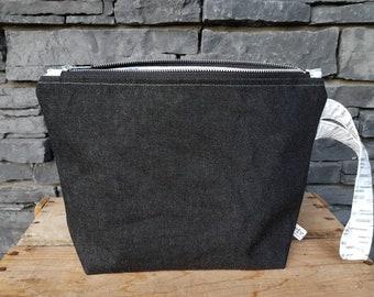 Project Bag | Knitting Bag | Knitting Project Bag | Zippered Project Bag | Wedge Bag | Shawl Knitting Bag | Silver Denim