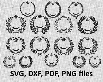 Leaf Wreath SVG, Laurel Wreaths Clipart Digital Download, Leaf Circle Monogram Frame, Clipart Cutting Files for Cricut Explore, Silhouette