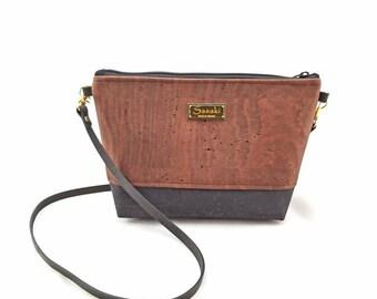 Cork Bag - Crossbody Purse -leather strap -Ready to Ship