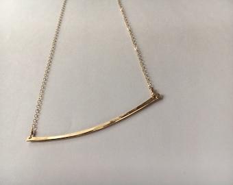 hand-hammered gold bar necklace