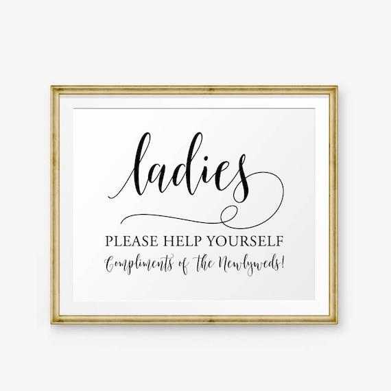Wedding Bathroom Sign Printable, Ladies Bathroom Printable, Wedding Restroom  sign, Bathroom Basket Sign, Help Yourself Sign, Ladies sign