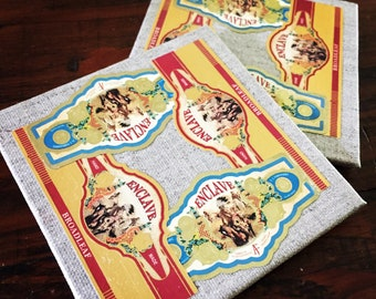 2018 Cigar Band Collage Coaster Set of 2 - Dual Enclave