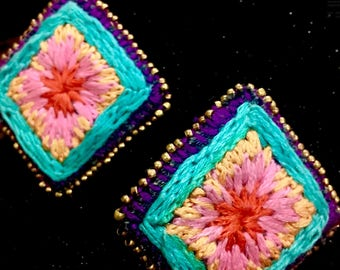 Multi color embroidery earring with golden beat.. also look at ...https://www.facebook.com/hershandmade/