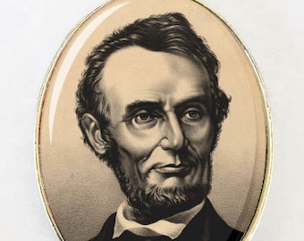 ABRAHAM LINCOLN Sepia Necklace LARGE 40X30mm Glass domed pendant
