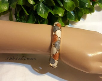 Vintage Estate Gold Color Grey Tan Ivory Bracelet Bangle Cuff, Marbled Bracelet, Cuff Bracelet,  Bangle, Handcuff Bracelet, Mothers Day Gift