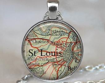 St. Louis, Missouri map pendant, St. Louis map pendant, St. Louis map jewelry resin pendant map jewellery key chain key ring key fob
