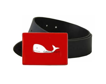 Whale Belt Buckle Inlaid in Hand Pianted Red Opaque Enamel with Custom Colors Available