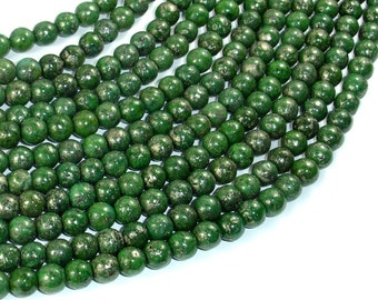 Green Chalcopyrite, 6mm Round Beads, 15.5 Inch beads, Full strand, Approx 68 beads, Hole 1mm (264054004)