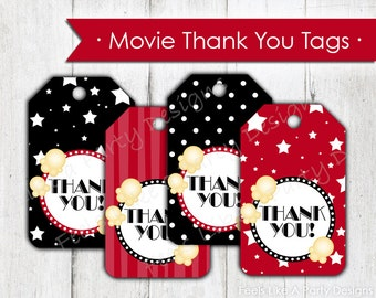Movie Night Thank You Tags- Instant Download