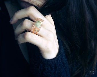 Resin ring with a real poppy pod