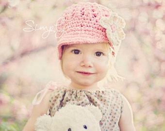 Little Girls Hats,  Crochet Girls Hat, Newsboy Hat for Toddlers, Children Acccessories, Pink, Ivory, Cotton, 12 Months to 4T