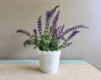 Vintage hobnail milk glass Planter Wide white vase Wedding vase