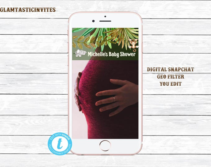 Snapchat Filter Template, Baby Shower Snapchat, Safari Snapchat Filter, Jungle Snapchat Filter, Safari Baby Shower, Editable, You Edit, DIY