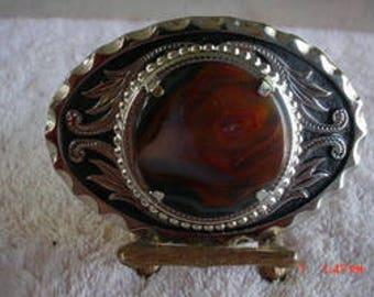 Western Silver Look 38 mm Round Brazil Agate Belt Buckle