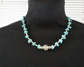 Nature Turquoise necklace, metal Boho necklace, gift for her or him,  gemstone, real turquoise, statement silver necklace,