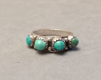 Vintage Native American Turquoise Ring Sterling Silver Rough Turquoise Nuggets Southwest Jewelry Size 7.25 Unisex Mens Mans