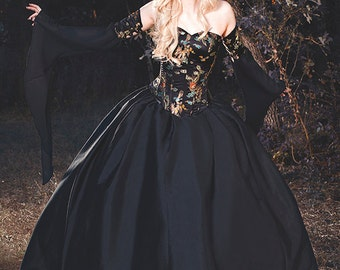 Gothic Ball Medieval Masquerade Gown Dragon Brocade Corset Set with Chiffon Custom!