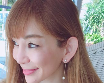14k Solid Gold chain Akoya pearl earrings