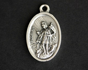 Saint Florian Medal. Catholic Pendant. St Florian Pendant. Saint Florian Charm. Catholic Saint Medal. 25mm x 16mm (Qty 1)