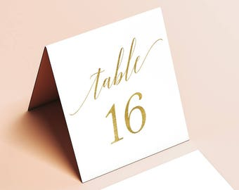 Tented Gold Table Numbers - Printable Table Number Set Tables 1-50- Gold Foil - Instant Download - 4 x 4.5 inches folded and flat - GD3406