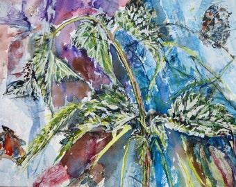 Nettle with Butterflies/Watercolour Butterflies